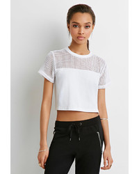 White Mesh Cropped Top