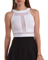 Charlotte Russe Mesh Cut Out Halter Crop Top