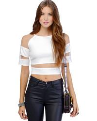 Sheer Mesh Off Shoulder Crop White T Shirt