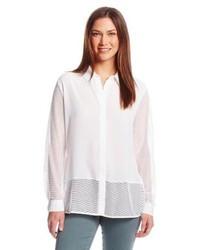 Collar blouse with mesh medium 109059