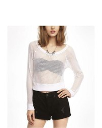 Express Long Sleeve Cropped Mesh Tee White Small