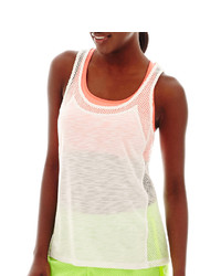 jcpenney Xersion Mesh Mixed Media Tank Top