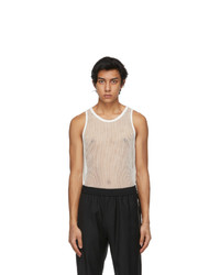 Givenchy Off White Metallized Mesh Slim Fit Tank Top