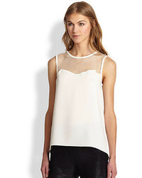 Rag and Bone Rag Bone Franklin Mesh Yoke Crepe Top