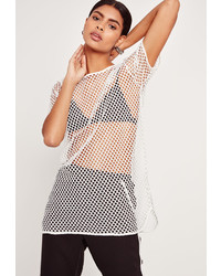 Missguided Airtex Mesh Tunic White