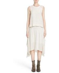 Ama layered silk georgette midi dress medium 573350
