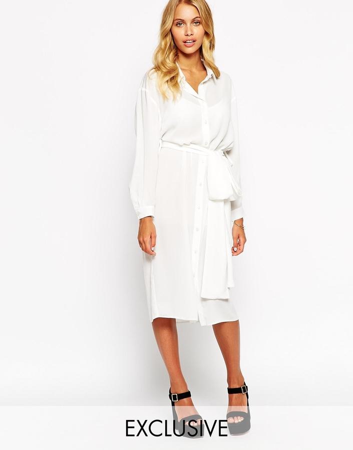bbae9513bdee ... White Midi Dresses Love Belted Midi Shirt Dress ...