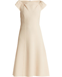 Bottega Veneta Boat Neck Wool Crepe Midi Dress