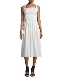 Maison Margiela Gathered Poplin Midi Dress Off White