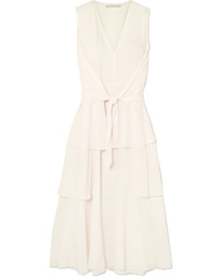 Stella McCartney Ruffled Tiered Silk De Chine Midi Dress