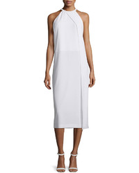 DKNY Sleeveless Draped Crepe Midi Dress White