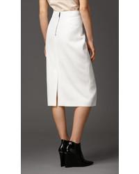 Burberry Piqu Virgin Wool Blend Pencil Skirt