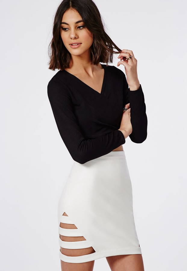 Missguided Cage Side Faux Leather Mini Skirt White | Where to buy ...