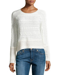 Design History Cable Looped Knit Crop Sweater Winter White