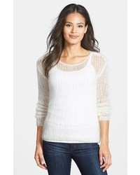 Eileen Fisher Hand Knit Mohair Blend Scoop Neck Sweater