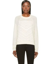Helmut Lang Cream Mohair Veiled Sweater