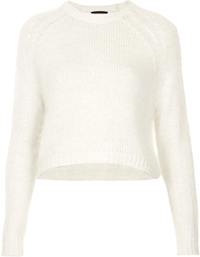lower price with save off on feet at Topshop Knitted Fluffy Crop Jumper, $60 | Topshop | Lookastic.com