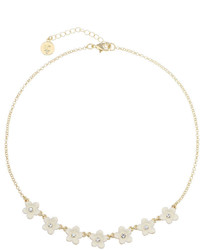 Liz Claiborne Flower Frontal Collar White Goldtone Necklace