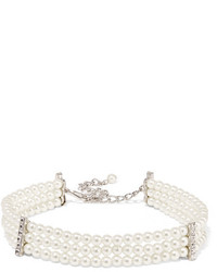 Kenneth Jay Lane Silver Plated Faux Pearl And Crystal Choker White