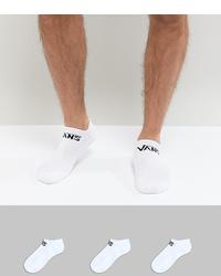 Vans Classic 3 Pack Trainer Socks In White Vxsxwht