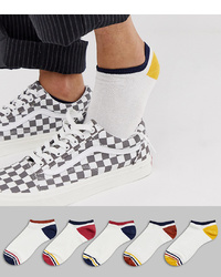 ASOS DESIGN Trainer Socks In Off White With Contrast Retro Details 5 Pack