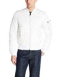 White Nylon Bomber Jacket