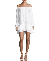 BCBGMAXAZRIA Aiyana Off The Shoulder Twill Mini Dress White