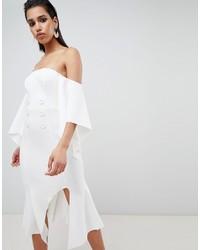 ASOS DESIGN Bandeau Kimono Sleeve Midi Dress With Tux Button Detail