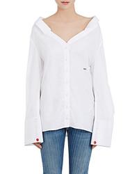 Off-White Co Virgil Abloh Cotton Poplin Off The Shoulder Shirt