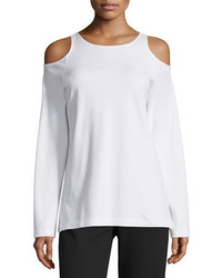 Joan Vass Cold Shoulder Long Sleeve Top