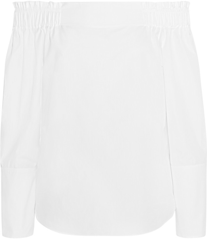 Tod's Off The Shoulder Cotton Poplin Top White