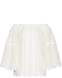 Burberry Off The Shoulder Lace Trimmed Broderie Anglaise Cotton Blend Top White