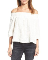 Current/Elliott Smocked Off The Shoulder Top