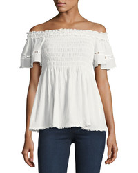 Max Studio Smocked Off The Shoulder Top