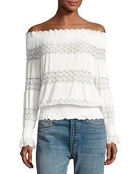 J.o.a. Smocked Off The Shoulder Top White