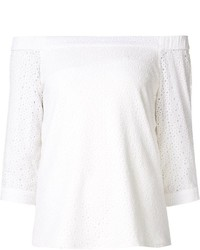 Tibi Broderie Anglaise Off Shoulder Top