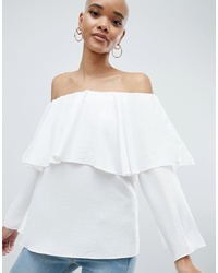 ASOS DESIGN Tiered Top With Off Shoulder Detail In Ivory