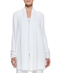 Vince Suspension Ribbed Draped Open Cardigan White