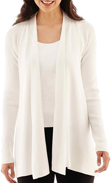 jcpenney Worthington Long Sleeve Ribbed Open Front Cardigan ...