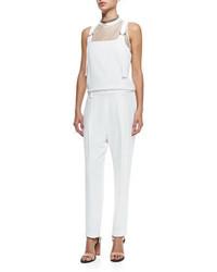 Brunello Cucinelli Clean Canvas Snap Button Vest Sleeveless Silk Overalls Jumpsuit Monili Chain Wrapped Necklace