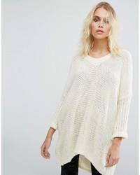 Noisy May Deep V Neck Oversize Knit Sweater