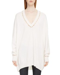 Imitation pearl embellished cashmere wool sweater medium 8672260