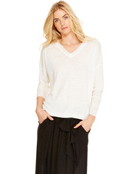 DKNY Pure Raw Edge Linen Pullover