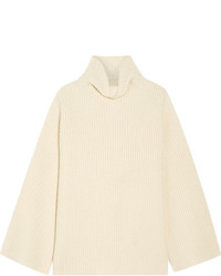 The Row Violina Oversized Ribbed Cashmere Turtleneck Sweater Off White