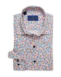 David Donahue David Fit Paisley Linen Dress Shirt