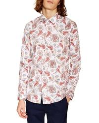 Topman Classic Fit Long Sleeve Light Paisley Shirt