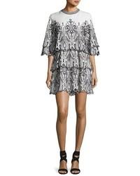 Noor tiered embroidered mini dress whiteblack medium 3662471