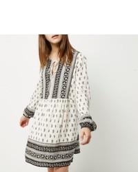 River Island Petite Black And White Paisley Print Dress