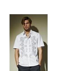 White Paisley Short Sleeve Shirt