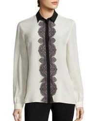 Etro Paisley Lace Trim Silk Blouse